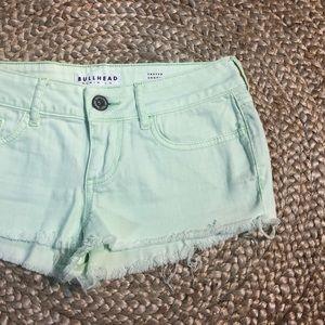 Bullhead frayed shorts XS mint green